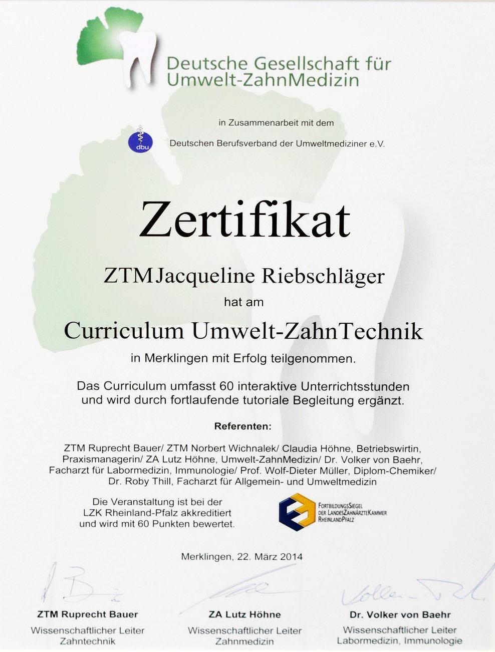 Dentallabor-Mehlhorn-Zahntechniker-Berlin-Umwelt-Zahntechnik-Zertifikat